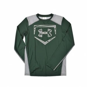 Under Armour Boys Kids Fitted Shirt Top Green/Gray